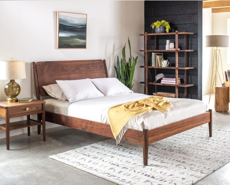 Whitman Bed in Western Walnut with Whitman Nightstand and Sebastian bookcase