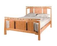 Sapporo bed in Cherry with Cherry panels and Walnut risers by The Joinery