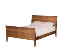 Contemporary Sleigh Bed in Eastern Walnut by The Joinery